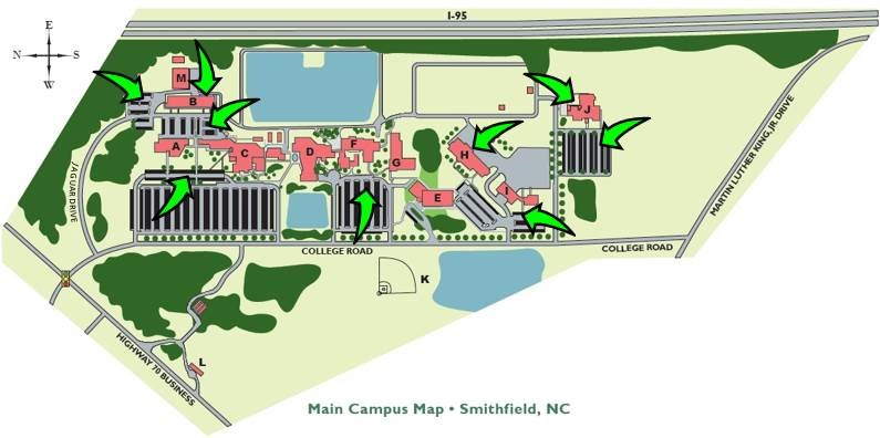 This map displays areas generally reserved for employee parking, and therefore, not available for student parking or parking by the general public.