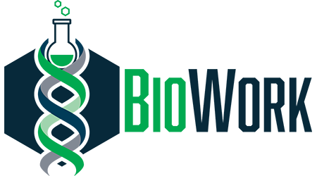 Bio Work Logo. Logo is a helix shape with a beaker intertwined.