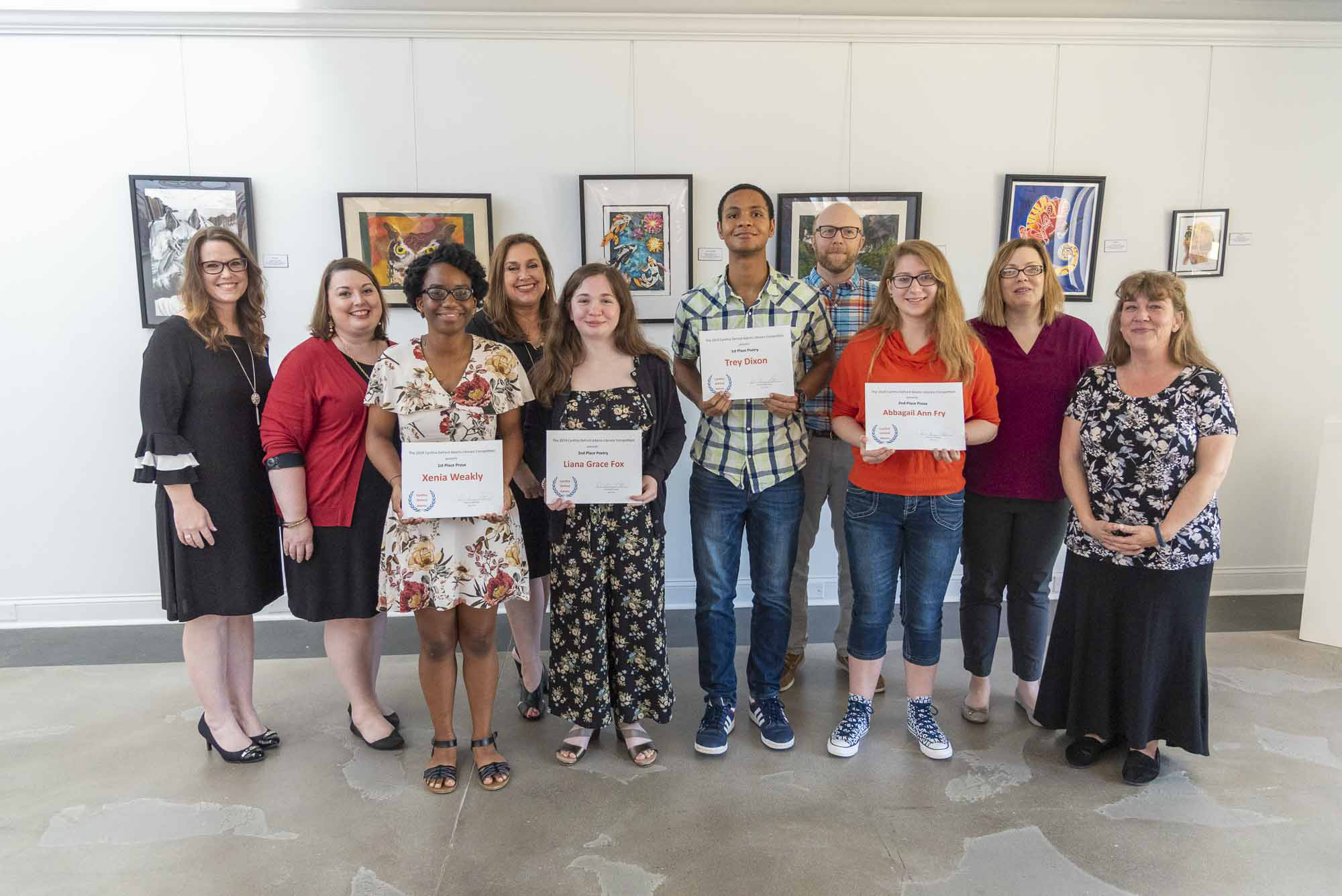 Members of the JCC English faculty are pictured with student winners from left Xenia Weakley; Liana Grace Fox; Trey Dixon; and Abbagail Ann Fry.