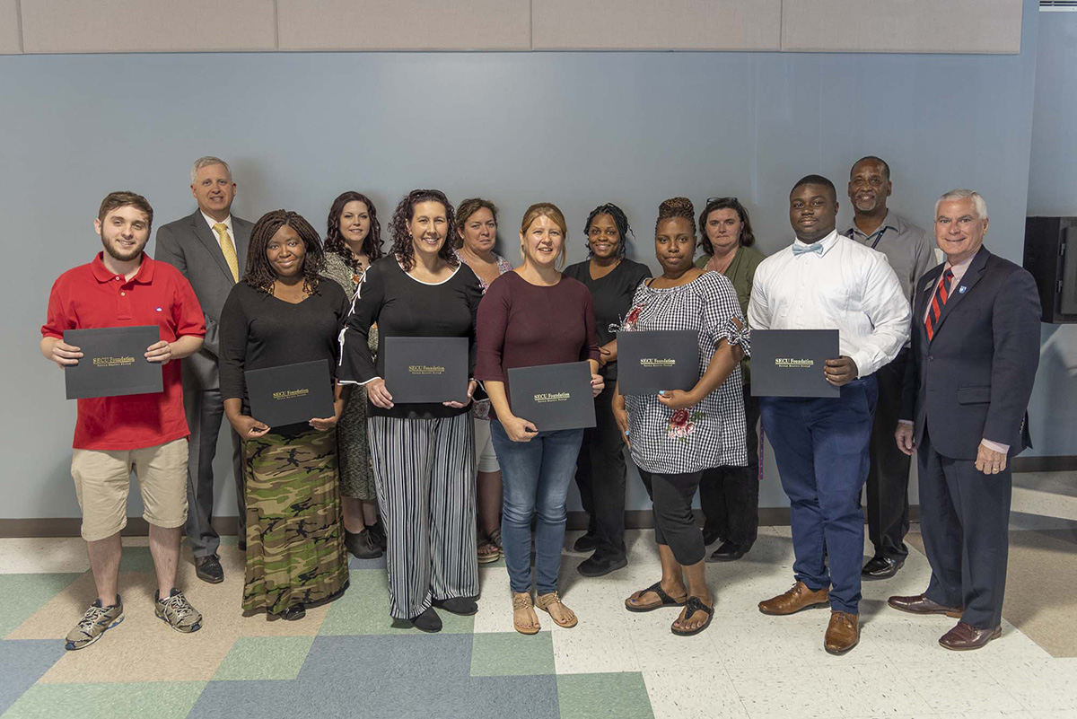 JCC's 2018-19 SECU Bridge to Career Scholars were recognized recently at a ceremony.