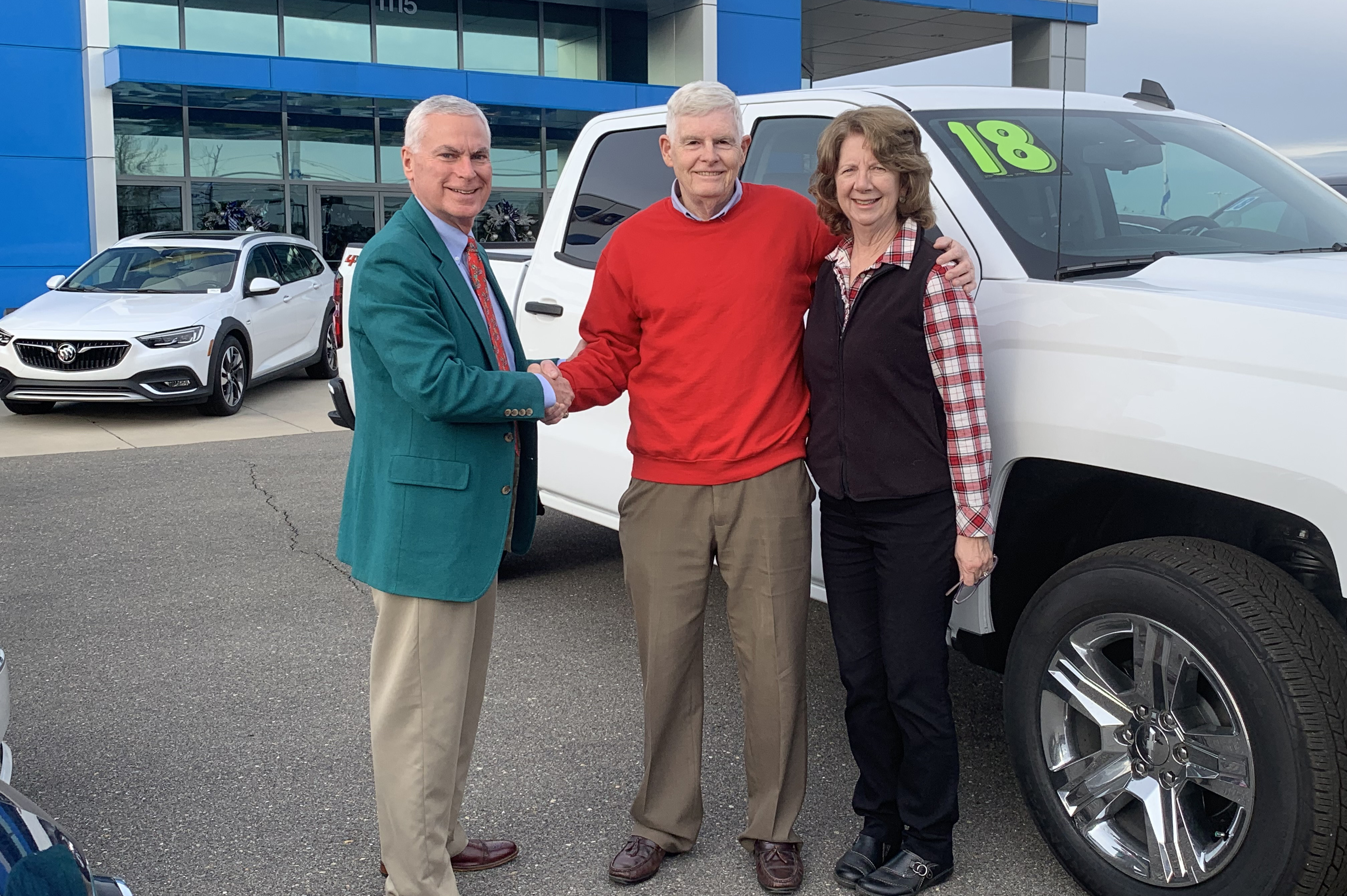 Joe Forgeng Jr. is the winner of the 2018 JCC Foundation Truck Raffle. Forgeng and his wife, Kate, are pictured with Dr. David Johnson, JCC president.